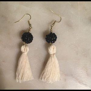 Jewelry - White tassel earrings with black bling bead